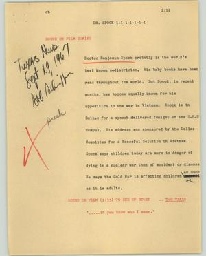 Primary view of object titled '[News Script: Dr. Spock]'.