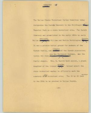 Primary view of object titled '[News Script: Cemetery]'.