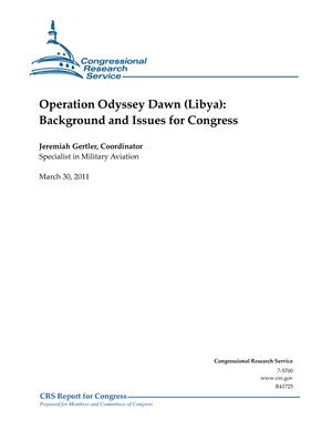 Operation Odyssey Dawn (Libya): Background and Issues for Congress