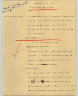 Primary view of object titled '[News Script: Homecomings]'.