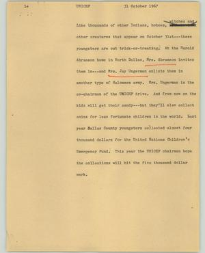 Primary view of object titled '[News Script: Unicef]'.