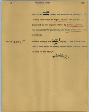 Primary view of object titled '[News Script: Jonsson's award]'.