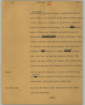 Primary view of object titled '[News Script: Dad's day]'.