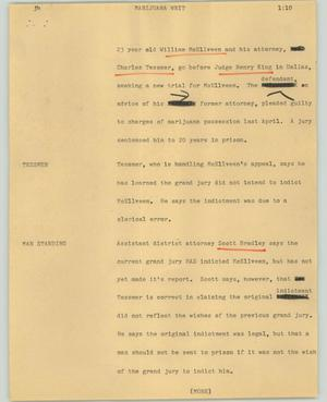 Primary view of object titled '[News Script: Marijuana writ]'.