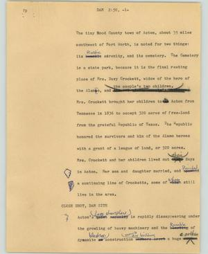 Primary view of object titled '[News Script: Dam]'.