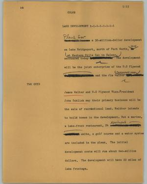 Primary view of object titled '[News Script: Lake development]'.