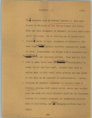 Primary view of object titled '[News Script: Carswell]'.