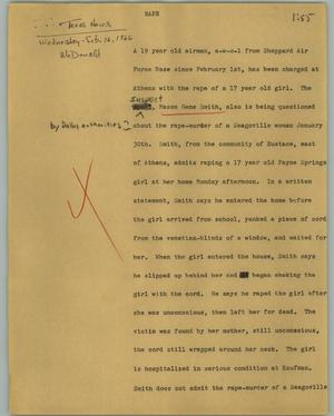 Primary view of object titled '[News Script: Rape]'.