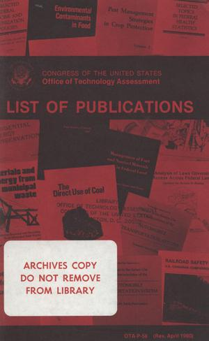 Primary view of object titled 'Office of Technology Assessment List of Publications, April 1980'.