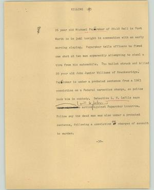 Primary view of object titled '[News Script: Killing]'.
