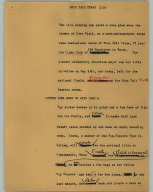 Primary view of object titled '[News Script: Miss Tall Texas]'.