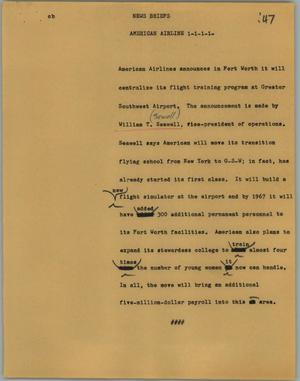 Primary view of object titled '[News Script: News briefs - American Airline]'.