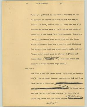 Primary view of object titled '[News Script: Twin contest]'.