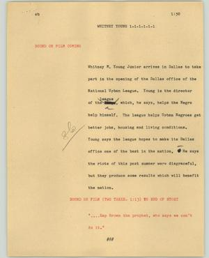 Primary view of object titled '[News Script: Whitney Young]'.