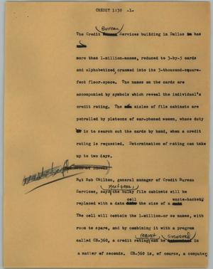 Primary view of object titled '[News Script: Credit]'.