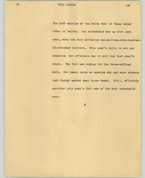 Primary view of object titled '[News Script: Fair closes]'.