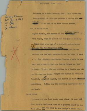 Primary view of object titled '[News Script: Shootings]'.