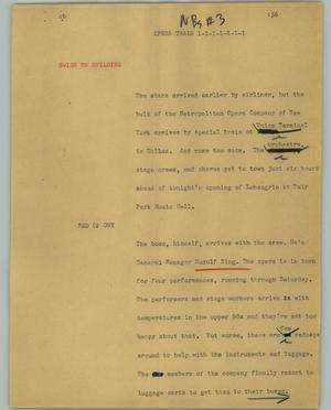 Primary view of object titled '[News Script: Opera train]'.