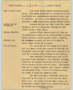 Primary view of object titled '[News Script: School wrap-up]'.
