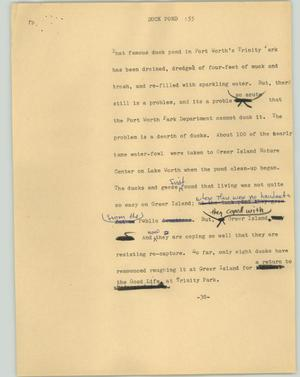 Primary view of object titled '[News Script: Duck fond]'.