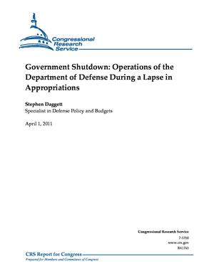 Government Shutdown: Operations of the Department of Defense During a Lapse in Appropriations