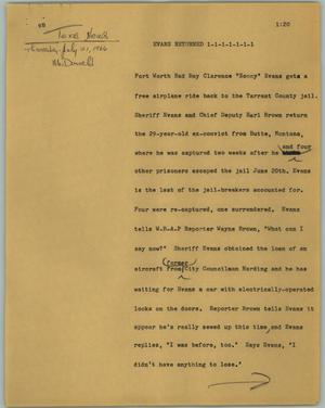 Primary view of object titled '[News Script: Evans returned]'.