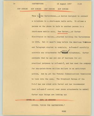Primary view of object titled '[News Script: Carterphone]'.
