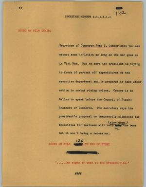 Primary view of object titled '[News Script: Secretary Connor]'.