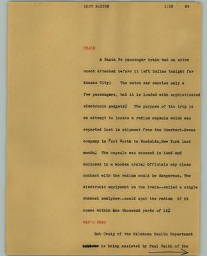 Primary view of object titled '[News Script: Lost radium]'.