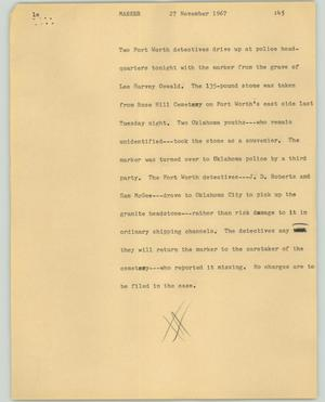 Primary view of object titled '[News Script: Marker]'.