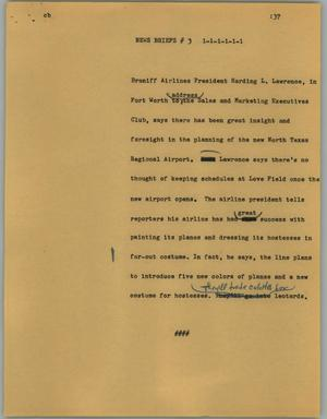 Primary view of object titled '[News Script: News briefs #3]'.