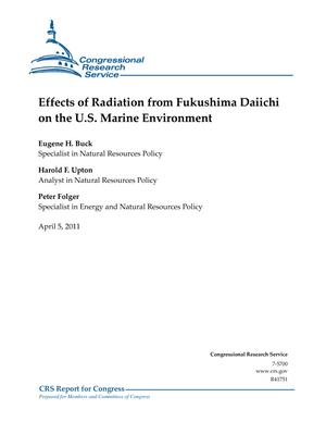 Effects of Radiation from Fukushima Daiichi on the U.S. Marine Environment