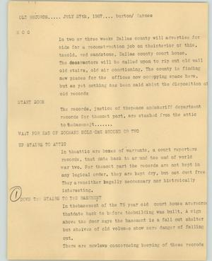 Primary view of object titled '[News Script: Old records]'.