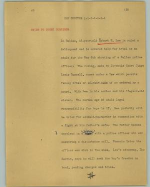 Primary view of object titled '[News Script: Cop shooter]'.