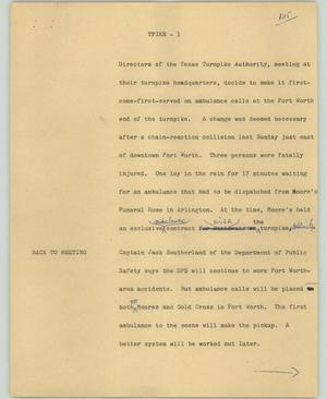 Primary view of object titled '[News Script: TPIKE]'.