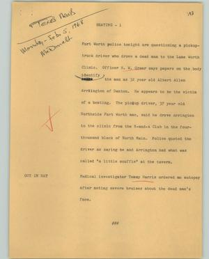 Primary view of object titled '[News Script: Beating]'.