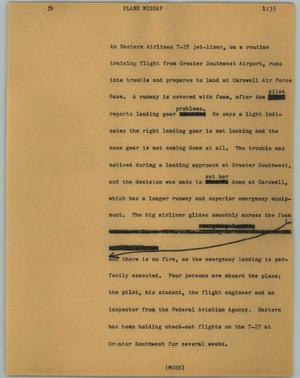 Primary view of object titled '[News Script: Plane mishap]'.