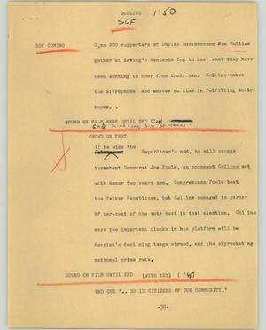 Primary view of object titled '[News Script: Dollins]'.