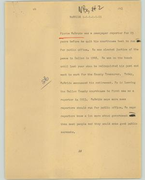 Primary view of object titled '[News Script: McBRIDE]'.