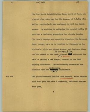 Primary view of object titled '[News Script: Goat farm]'.