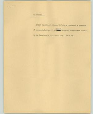 Primary view of object titled '[News Script: De Valera]'.