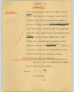 Primary view of object titled '[News Script: Professor]'.