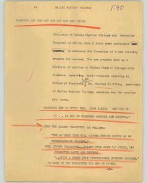 Primary view of object titled '[News Script: Dallas baptist college]'.