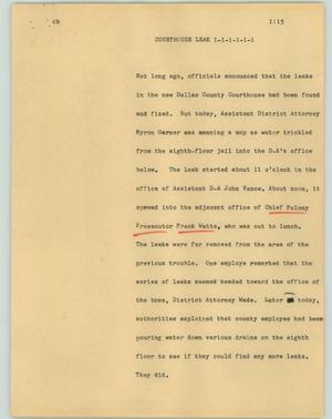 Primary view of object titled '[News Script: Courthouse talk]'.