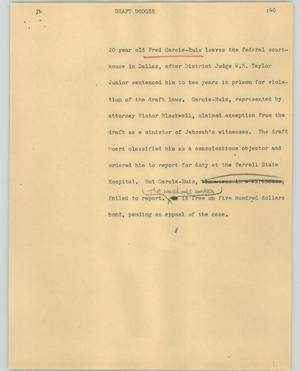 Primary view of object titled '[News Script: Draft dodger]'.