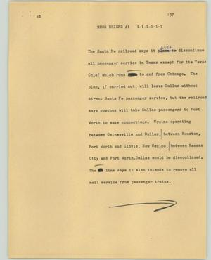 Primary view of object titled '[News Script: News briefs #1]'.