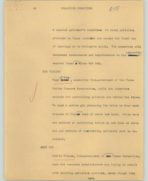 Primary view of object titled '[News Script: Pollution committee]'.