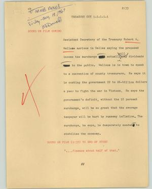Primary view of object titled '[News Script: Treasury guy]'.