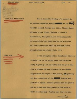Primary view of object titled '[News Script: Speck speculation]'.