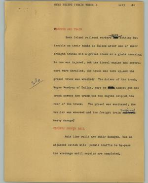 Primary view of object titled '[News Script: News briefs (Train wreck)]'.